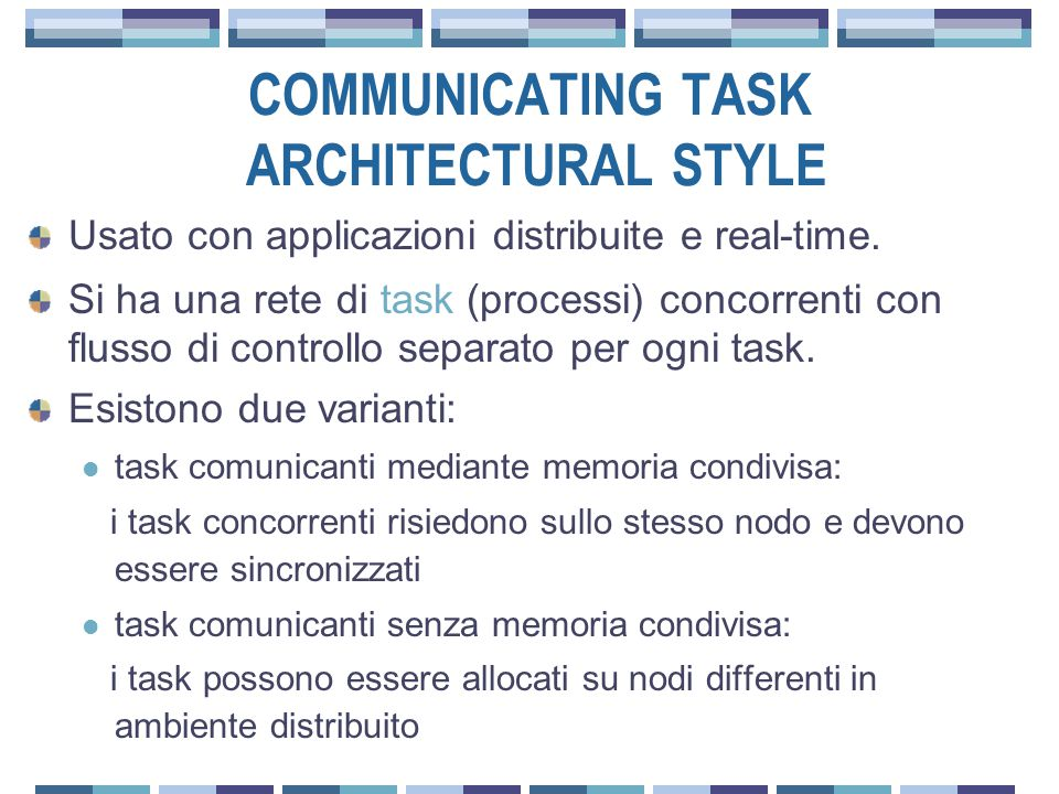 COMMUNICATING TASK ARCHITECTURAL STYLE Usato con applicazioni distribuite e real-time.