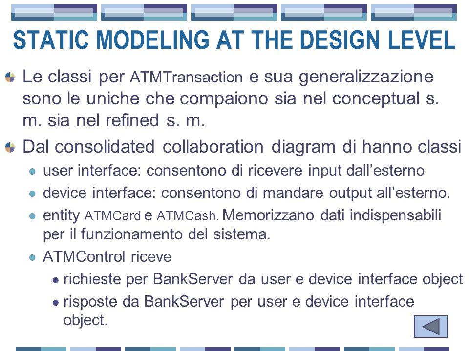 STATIC MODELING AT THE DESIGN LEVEL Le classi per ATMTransaction e sua generalizzazione sono le uniche che compaiono sia nel conceptual s.