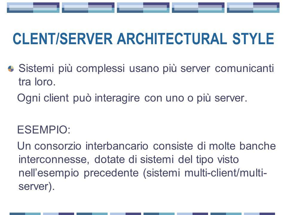 CLENT/SERVER ARCHITECTURAL STYLE Sistemi più complessi usano più server comunicanti tra loro.