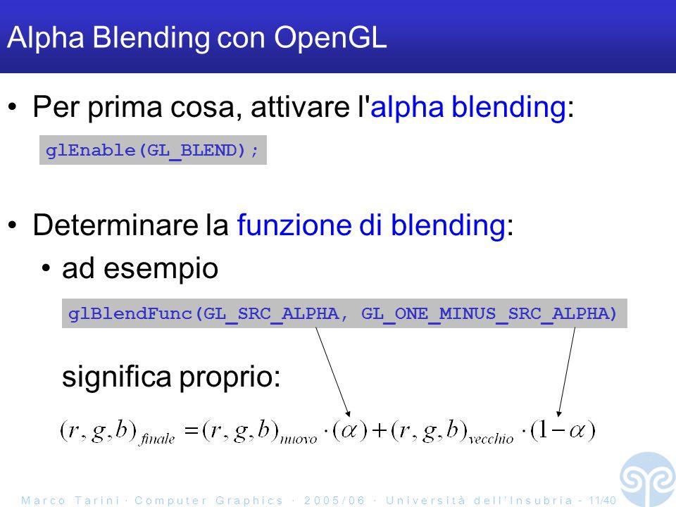 M a r c o T a r i n i ‧ C o m p u t e r G r a p h i c s ‧ 2 0 0 5 / 0 6 ‧ U n i v e r s i t à d e l l ' I n s u b r i a - 11/40 Alpha Blending con OpenGL Per prima cosa, attivare l alpha blending: glEnable(GL_BLEND); glBlendFunc(GL_SRC_ALPHA, GL_ONE_MINUS_SRC_ALPHA) Determinare la funzione di blending: ad esempio significa proprio: