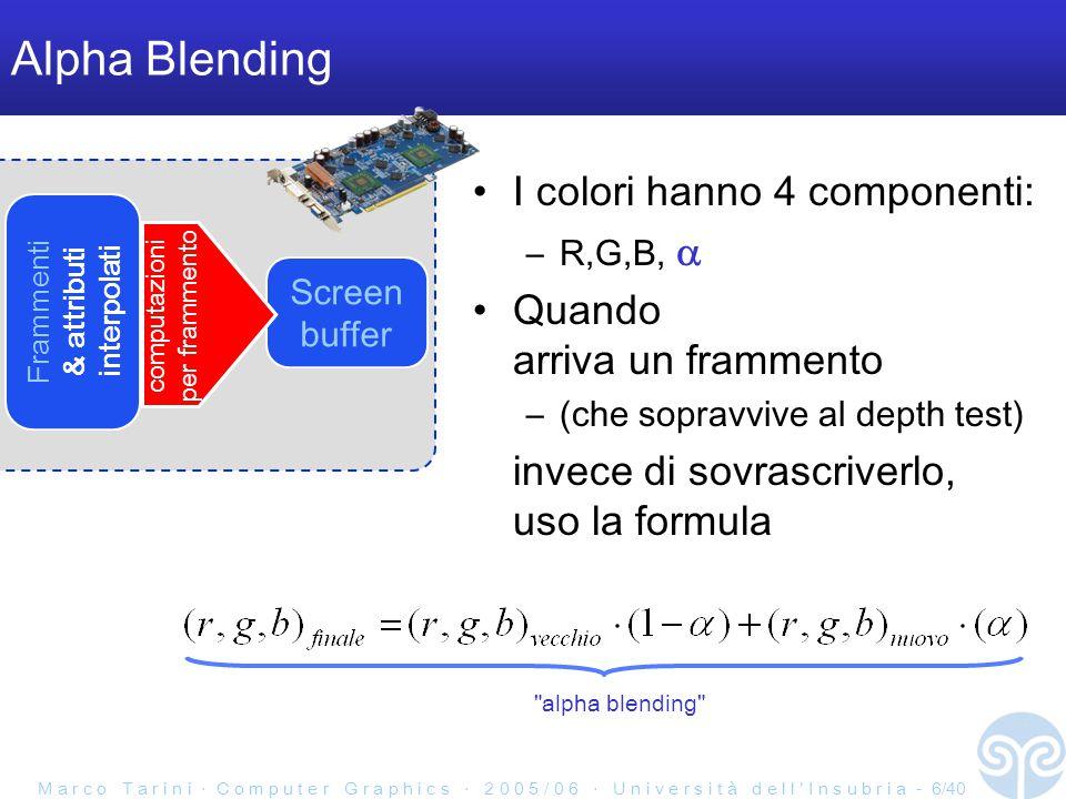 M a r c o T a r i n i ‧ C o m p u t e r G r a p h i c s ‧ 2 0 0 5 / 0 6 ‧ U n i v e r s i t à d e l l ' I n s u b r i a - 6/40 Alpha Blending I colori hanno 4 componenti: –R,G,B,  Quando arriva un frammento –(che sopravvive al depth test) invece di sovrascriverlo, uso la formula Frammenti & attributi interpolati Screen buffer computazioni per frammento alpha blending