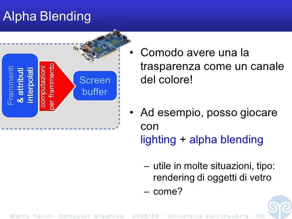 M a r c o T a r i n i ‧ C o m p u t e r G r a p h i c s ‧ 2 0 0 5 / 0 6 ‧ U n i v e r s i t à d e l l ' I n s u b r i a - 7/40 Alpha Blending Comodo avere una la trasparenza come un canale del colore.