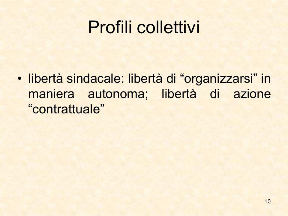 """Profili collettivi libertà sindacale: libertà di """"organizzarsi"""" in maniera autonoma; libertà di azione """"contrattuale"""" 10"""