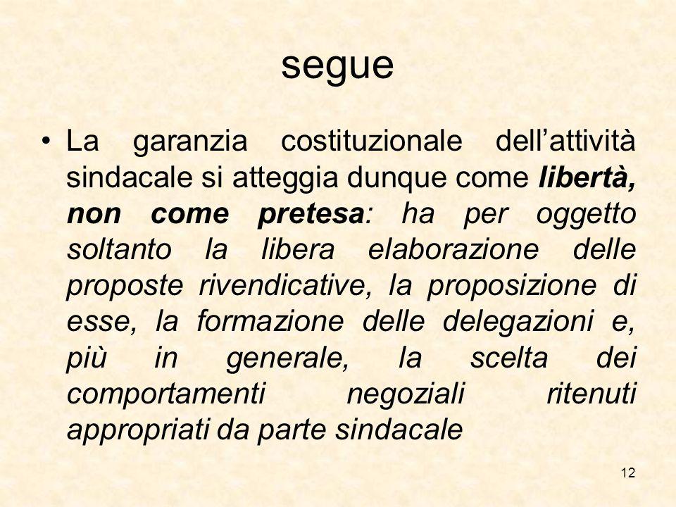 segue La garanzia costituzionale dell'attività sindacale si atteggia dunque come libertà, non come pretesa: ha per oggetto soltanto la libera elaboraz