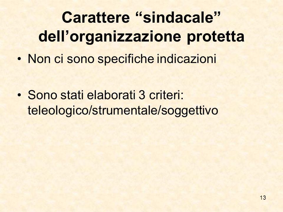 """Carattere """"sindacale"""" dell'organizzazione protetta Non ci sono specifiche indicazioni Sono stati elaborati 3 criteri: teleologico/strumentale/soggetti"""