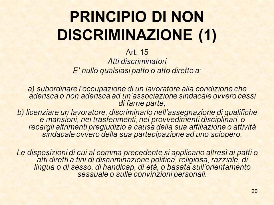 20 PRINCIPIO DI NON DISCRIMINAZIONE (1) Art. 15 Atti discriminatori E' nullo qualsiasi patto o atto diretto a: a) subordinare l'occupazione di un lavo