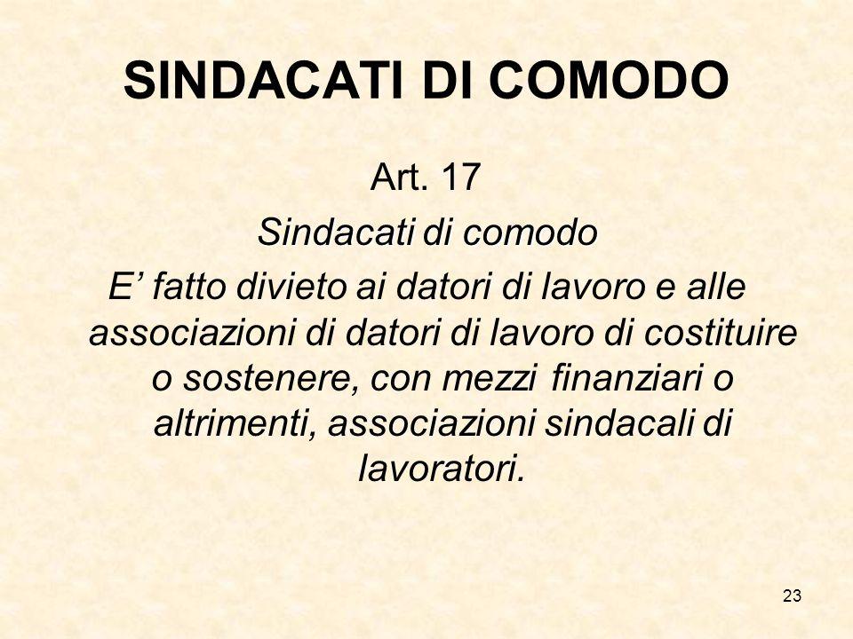23 SINDACATI DI COMODO Art. 17 Sindacati di comodo E' fatto divieto ai datori di lavoro e alle associazioni di datori di lavoro di costituire o sosten