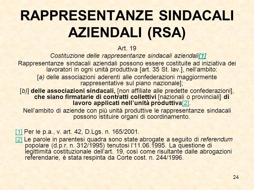 24 RAPPRESENTANZE SINDACALI AZIENDALI (RSA) Art. 19 Costituzione delle rappresentanze sindacali aziendali[1][1] Rappresentanze sindacali aziendali pos