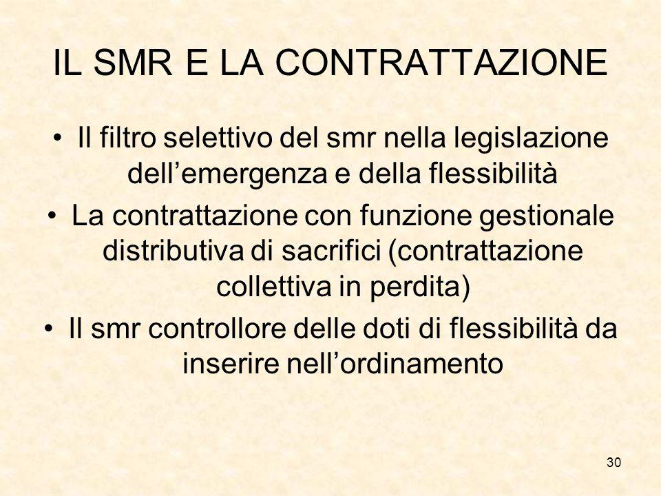 30 IL SMR E LA CONTRATTAZIONE Il filtro selettivo del smr nella legislazione dell'emergenza e della flessibilità La contrattazione con funzione gestio