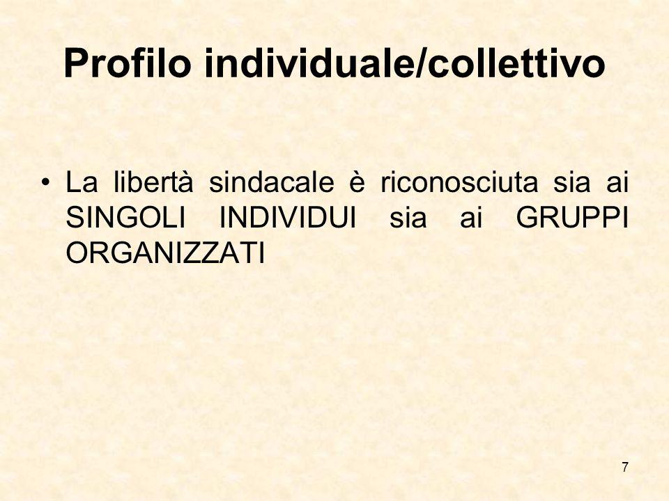 Profilo individuale/collettivo La libertà sindacale è riconosciuta sia ai SINGOLI INDIVIDUI sia ai GRUPPI ORGANIZZATI 7