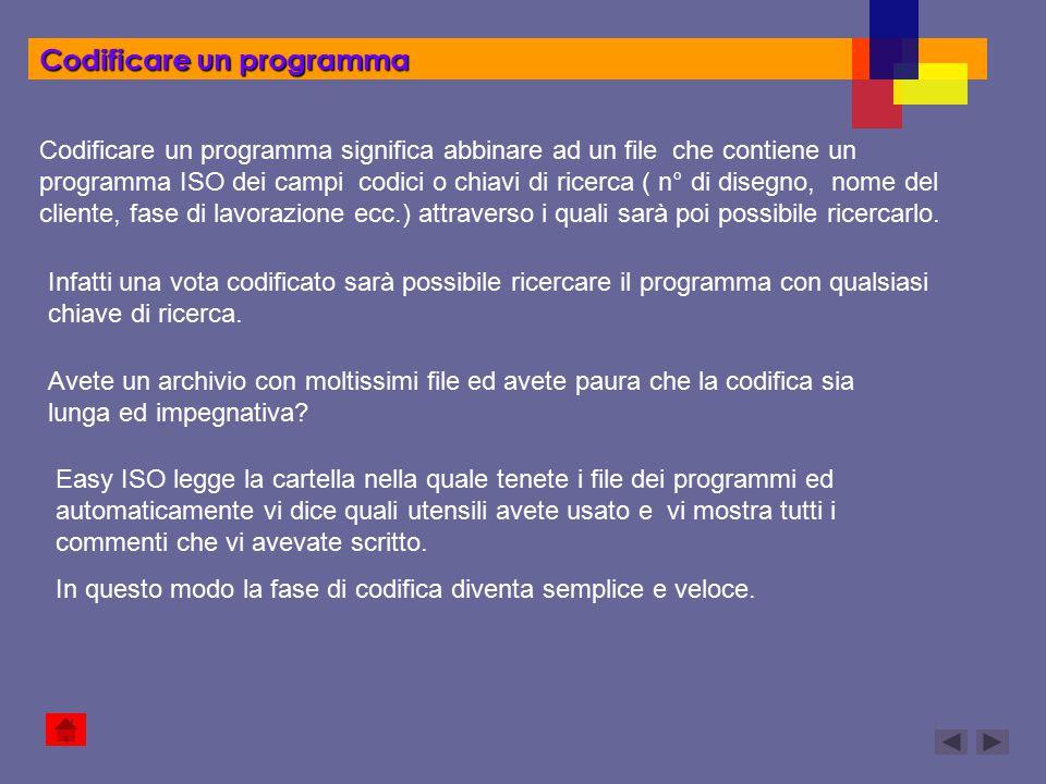 Codificare un programma Codificare un programma significa abbinare ad un file che contiene un programma ISO dei campi codici o chiavi di ricerca ( n°