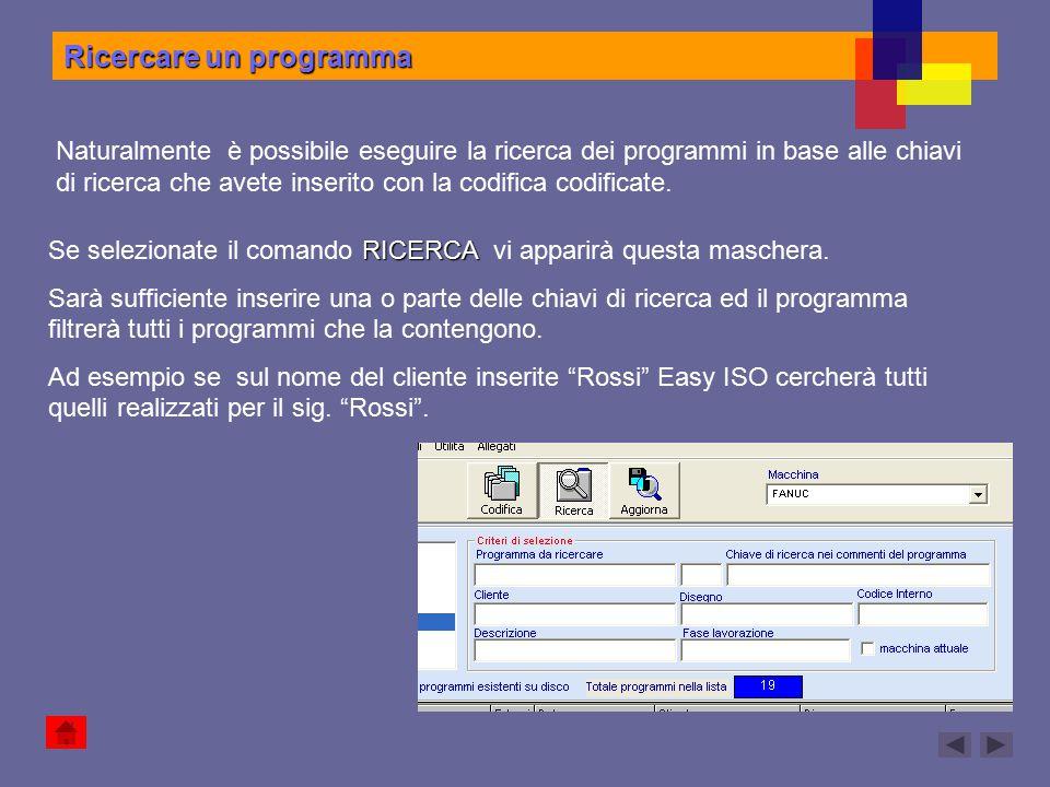 Ricercare un programma Naturalmente è possibile eseguire la ricerca dei programmi in base alle chiavi di ricerca che avete inserito con la codifica co