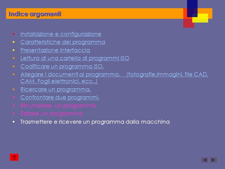 Installazione e configurazione Caratteristiche del programma Presentazione interfaccia Lettura di una cartella di programmi ISO Codificare un programm