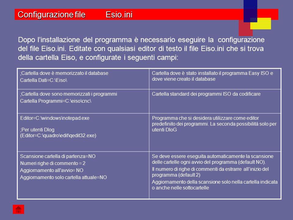 Programma di confronto=C:\eiso\WinMerge\WinMerge.exeProgramma usato per eseguire la comparazione tra due files Allegato Nome 1 =CAD Rhino 3D ;se omesso avvia il file registrato per l estensione ;Allegato eseguibile 1 =C:\Programmi\Rhinoceros 3.0\Rhino.exe Allegato ricerca 1 = Tutti i disegni|*.Dwg;*.3dm;*.dxf;|Rhinoceros(*.3dm)|*.3dm;|Tutti(*.*)|*.* Allegato estensione 1 =*.3dm Allegato Cartella 1 = C:\Programmi\Rhinoceros\samples ;Allegato Archivio 1 = Esempio di configurazione di un allegato: Nome che deve comparire nel menu del programma Easy ISO.