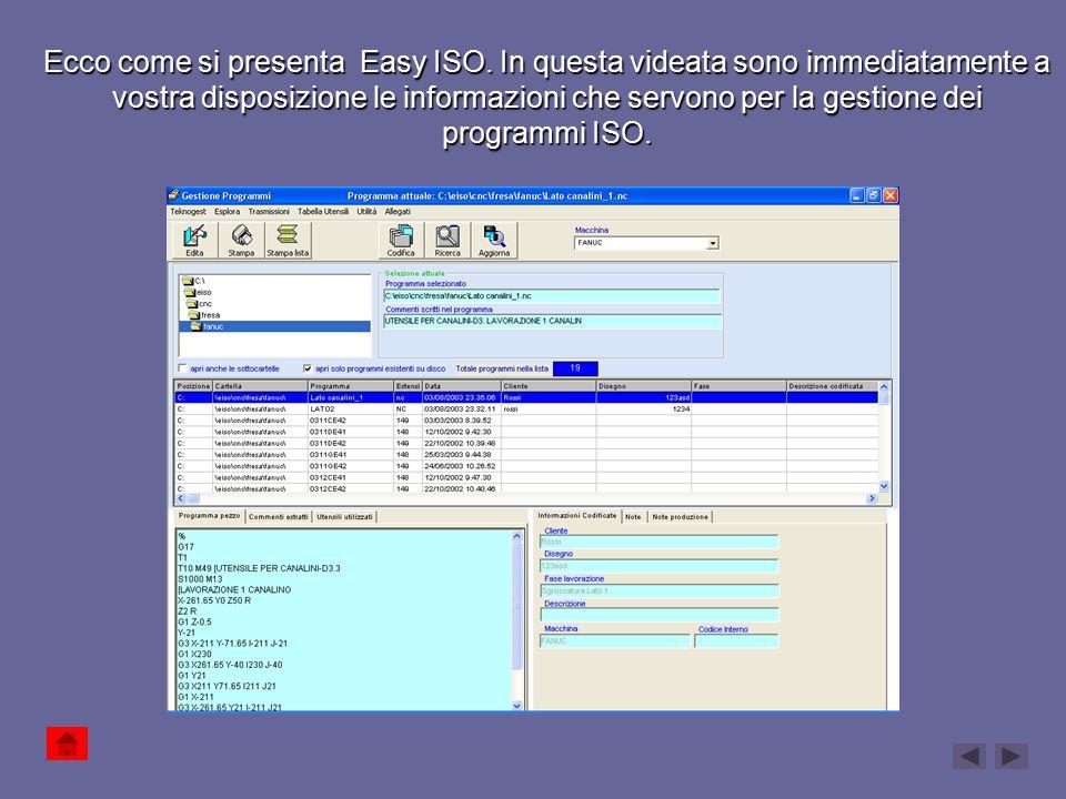 Qui si seleziona la cartella in cui sono archiviati i file ISO Elenco dei file ISO con tutte le descrizioni e dettagli 1.Anteprima del programma 2.Lista utensili 3.Commenti estratti dal programma Pulsanti dei comandi principali Selezione della macchina 1.Informazioni della codifica 2.Note di produzione