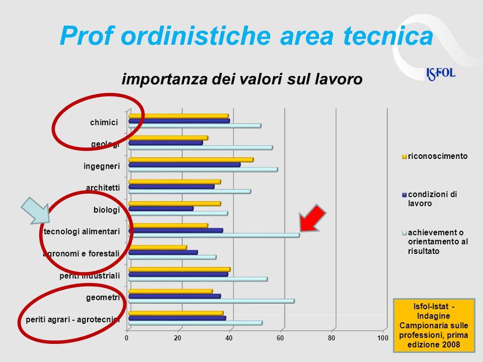 42 importanza dei valori sul lavoro Prof ordinistiche area tecnica Isfol-Istat - Indagine Campionaria sulle professioni, prima edizione 2008