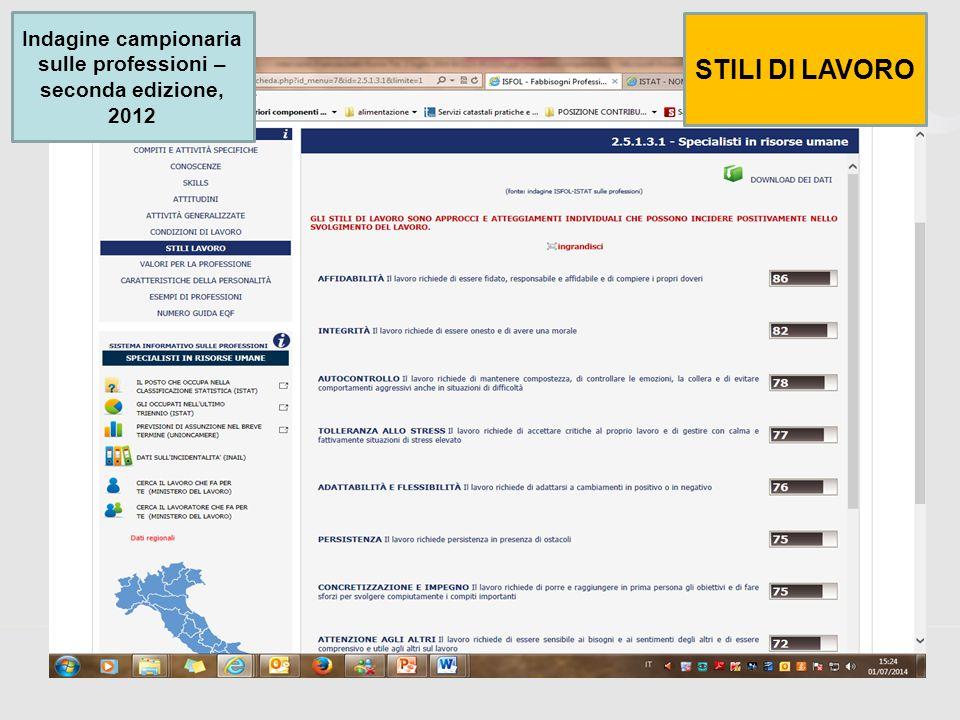 46 Indagine campionaria sulle professioni – seconda edizione, 2012 STILI DI LAVORO