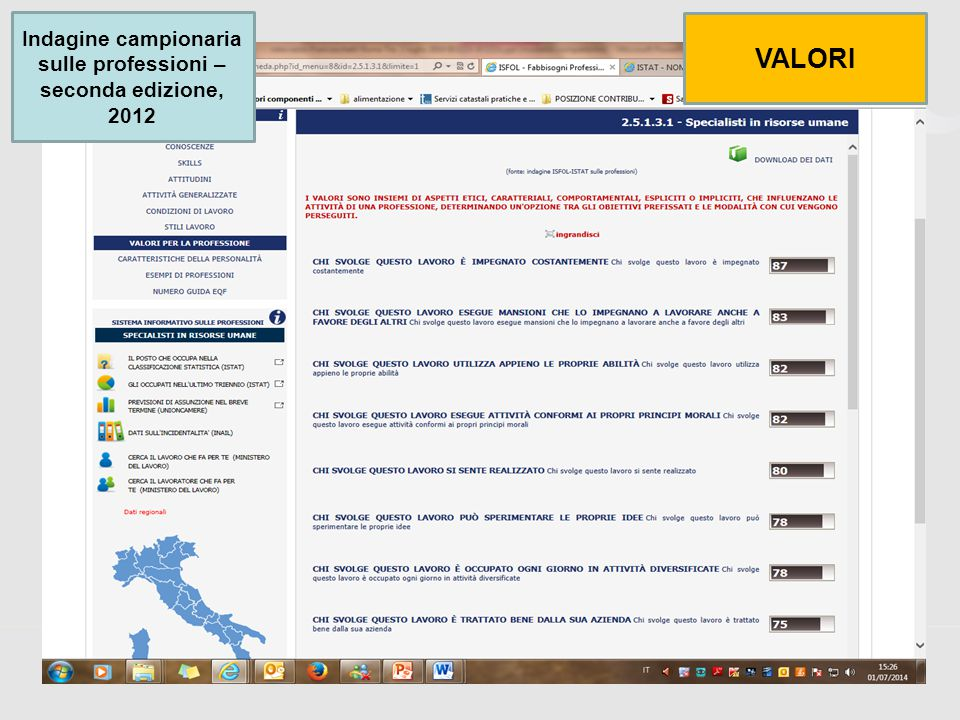 47 Indagine campionaria sulle professioni – seconda edizione, 2012 VALORI