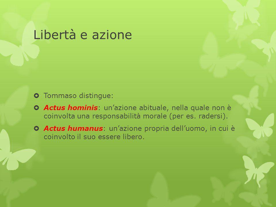 Libertà e azione  Tommaso distingue:  Actus hominis: un'azione abituale, nella quale non è coinvolta una responsabilità morale (per es. radersi). 