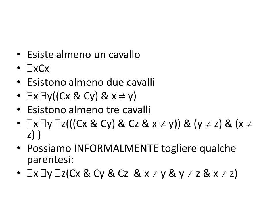 Esiste almeno un cavallo  xCx Esistono almeno due cavalli  x  y((Cx & Cy) & x  y) Esistono almeno tre cavalli  x  y  z(((Cx & Cy) & Cz & x  y)) & (y  z) & (x  z) ) Possiamo INFORMALMENTE togliere qualche parentesi:  x  y  z(Cx & Cy & Cz & x  y & y  z & x  z)