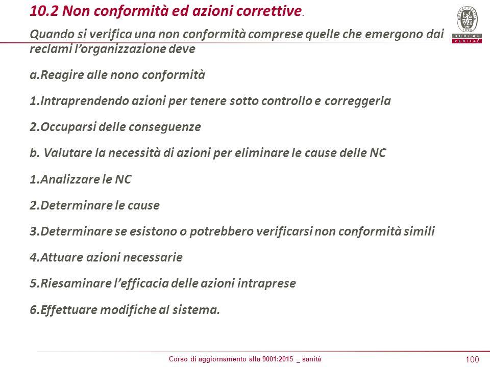 100 Corso di aggiornamento alla 9001:2015 _ sanità 10.2 Non conformità ed azioni correttive.