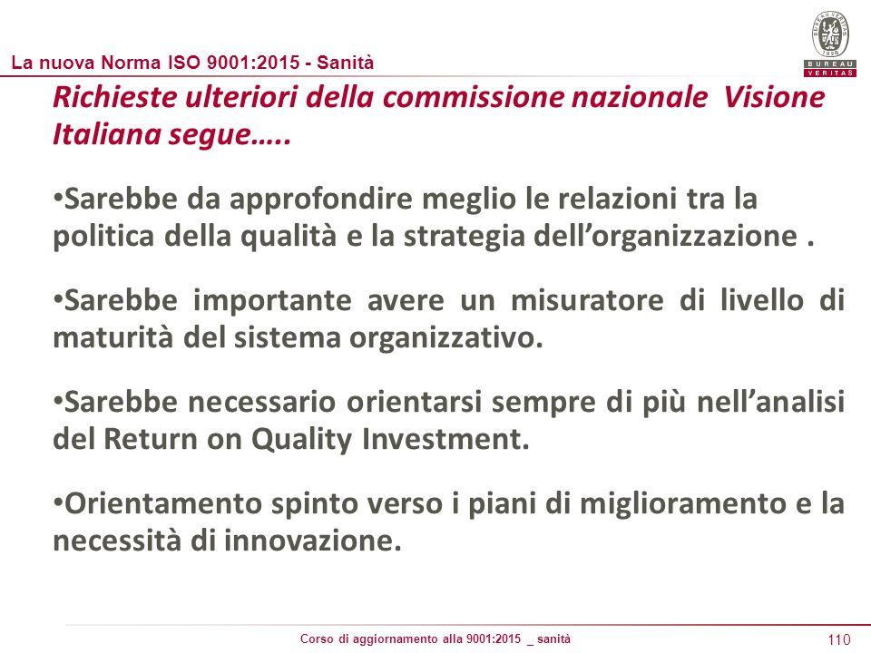 110 Corso di aggiornamento alla 9001:2015 _ sanità Richieste ulteriori della commissione nazionale Visione Italiana segue…..