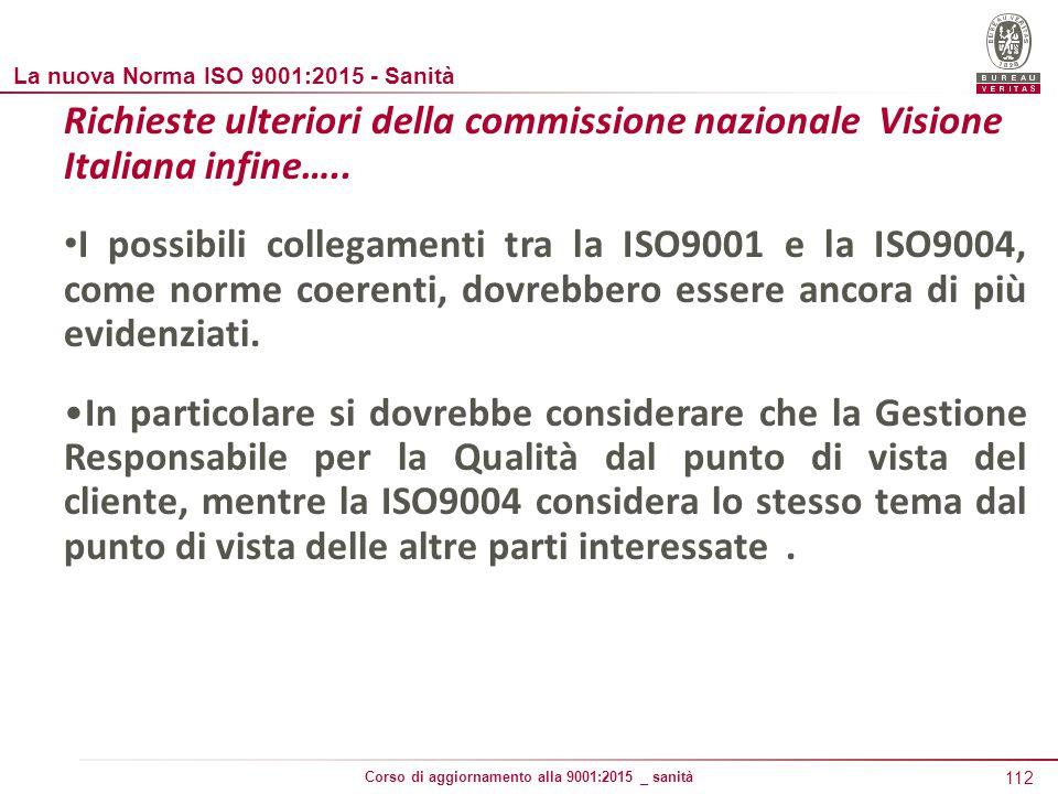 112 Corso di aggiornamento alla 9001:2015 _ sanità Richieste ulteriori della commissione nazionale Visione Italiana infine…..