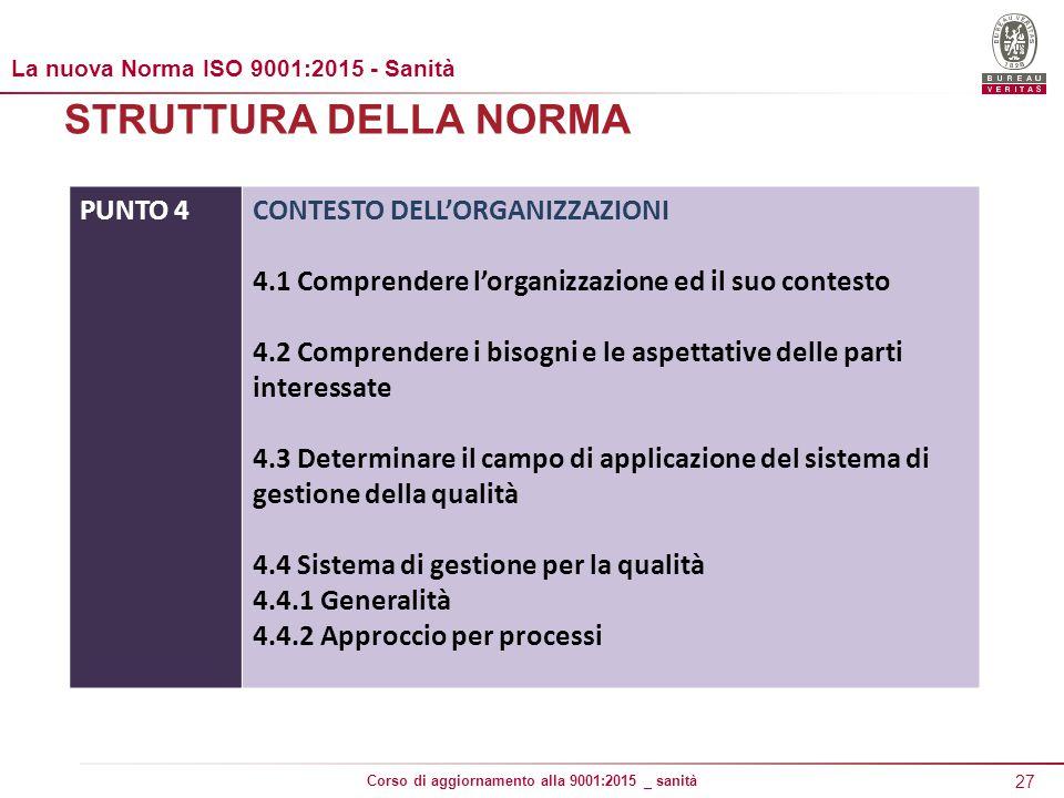 27 Corso di aggiornamento alla 9001:2015 _ sanità STRUTTURA DELLA NORMA PUNTO 4CONTESTO DELL'ORGANIZZAZIONI 4.1 Comprendere l'organizzazione ed il suo contesto 4.2 Comprendere i bisogni e le aspettative delle parti interessate 4.3 Determinare il campo di applicazione del sistema di gestione della qualità 4.4 Sistema di gestione per la qualità 4.4.1 Generalità 4.4.2 Approccio per processi La nuova Norma ISO 9001:2015 - Sanità