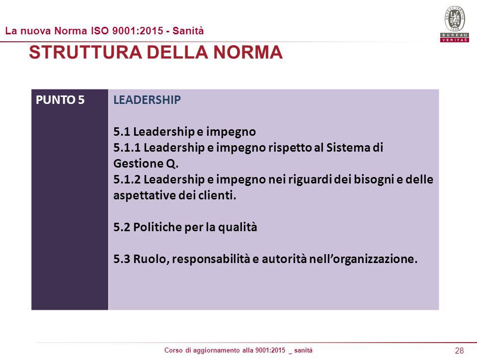 28 Corso di aggiornamento alla 9001:2015 _ sanità STRUTTURA DELLA NORMA PUNTO 5LEADERSHIP 5.1 Leadership e impegno 5.1.1 Leadership e impegno rispetto al Sistema di Gestione Q.