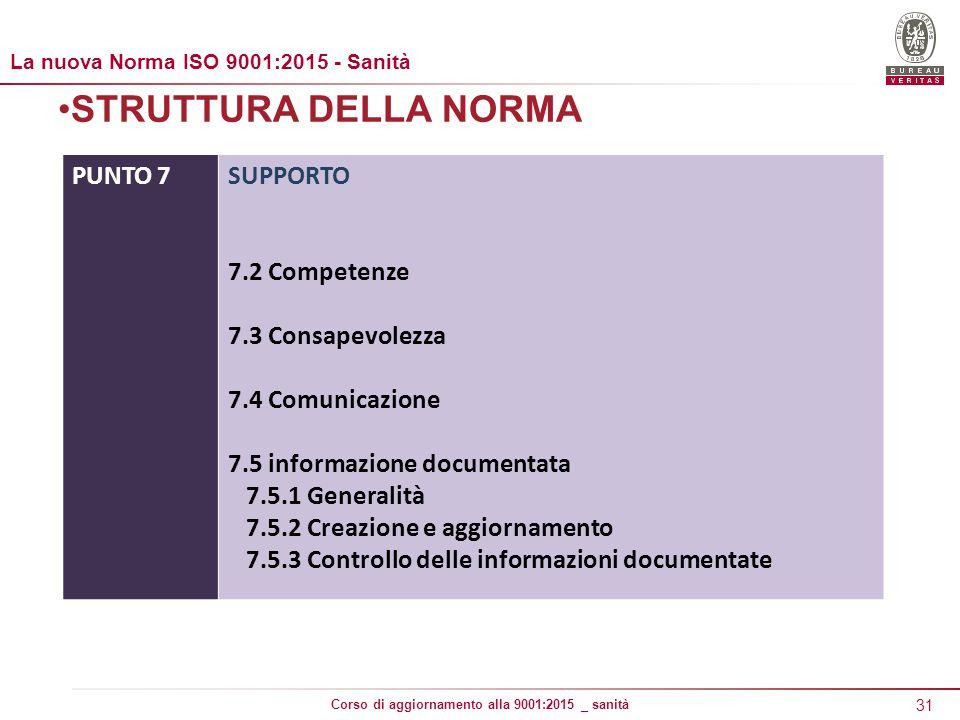 31 Corso di aggiornamento alla 9001:2015 _ sanità STRUTTURA DELLA NORMA PUNTO 7SUPPORTO 7.2 Competenze 7.3 Consapevolezza 7.4 Comunicazione 7.5 informazione documentata 7.5.1 Generalità 7.5.2 Creazione e aggiornamento 7.5.3 Controllo delle informazioni documentate La nuova Norma ISO 9001:2015 - Sanità