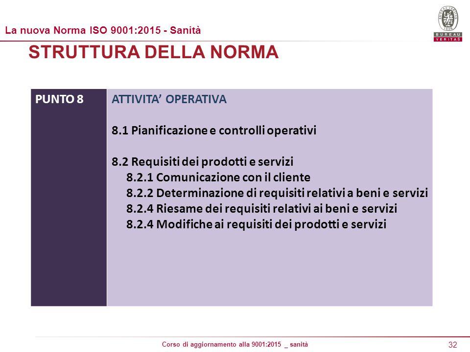 32 Corso di aggiornamento alla 9001:2015 _ sanità STRUTTURA DELLA NORMA PUNTO 8ATTIVITA' OPERATIVA 8.1 Pianificazione e controlli operativi 8.2 Requisiti dei prodotti e servizi 8.2.1 Comunicazione con il cliente 8.2.2 Determinazione di requisiti relativi a beni e servizi 8.2.4 Riesame dei requisiti relativi ai beni e servizi 8.2.4 Modifiche ai requisiti dei prodotti e servizi La nuova Norma ISO 9001:2015 - Sanità