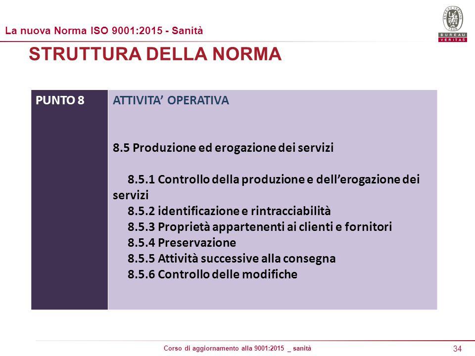 34 Corso di aggiornamento alla 9001:2015 _ sanità STRUTTURA DELLA NORMA PUNTO 8ATTIVITA' OPERATIVA 8.5 Produzione ed erogazione dei servizi 8.5.1 Controllo della produzione e dell'erogazione dei servizi 8.5.2 identificazione e rintracciabilità 8.5.3 Proprietà appartenenti ai clienti e fornitori 8.5.4 Preservazione 8.5.5 Attività successive alla consegna 8.5.6 Controllo delle modifiche La nuova Norma ISO 9001:2015 - Sanità
