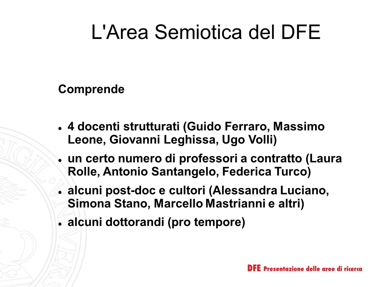 L'Area Semiotica del DFE Comprende 4 docenti strutturati (Guido Ferraro, Massimo Leone, Giovanni Leghissa, Ugo Volli) un certo numero di professori a