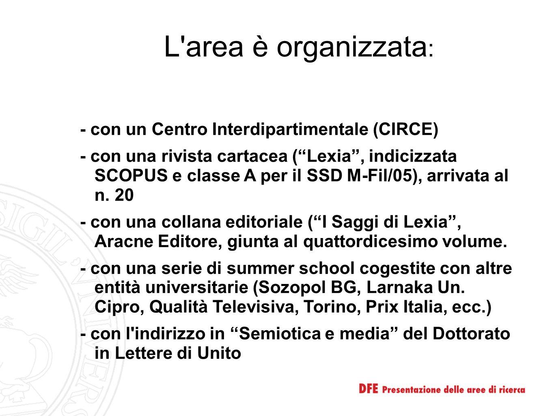 """L'area è organizzata : - con un Centro Interdipartimentale (CIRCE) - con una rivista cartacea (""""Lexia"""", indicizzata SCOPUS e classe A per il SSD M-Fil"""