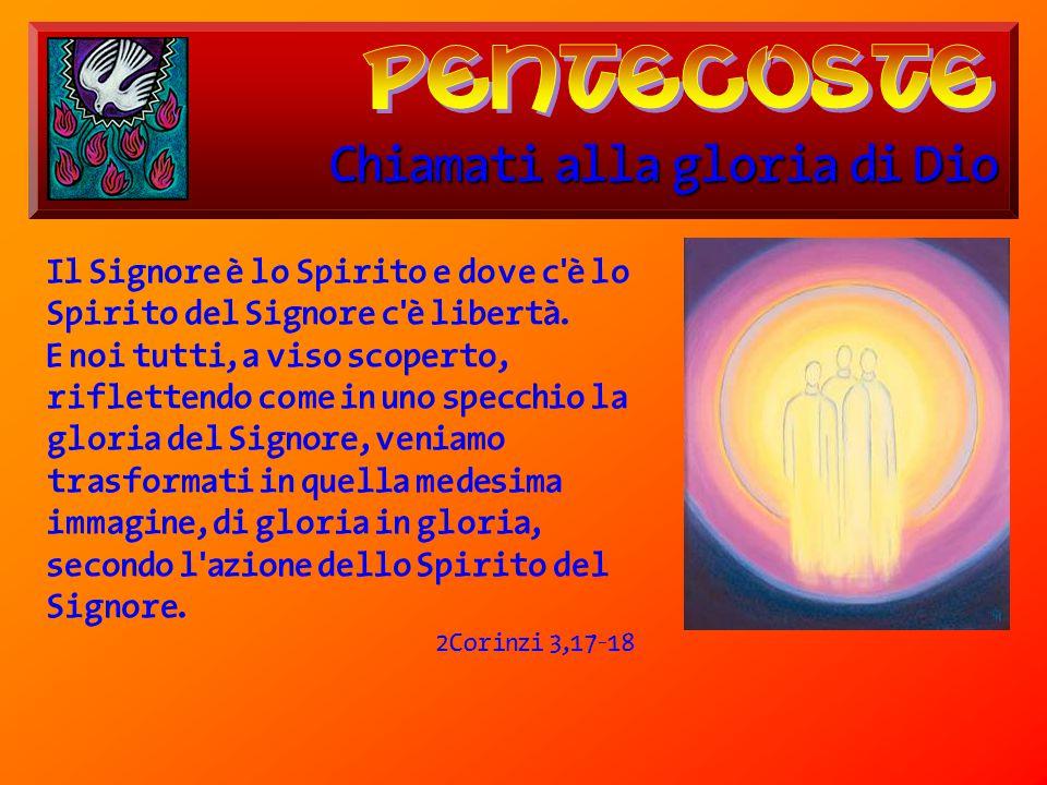 Chiamati alla gloria di Dio Il Signore è lo Spirito e dove c'è lo Spirito del Signore c'è libertà. E noi tutti, a viso scoperto, riflettendo come in u