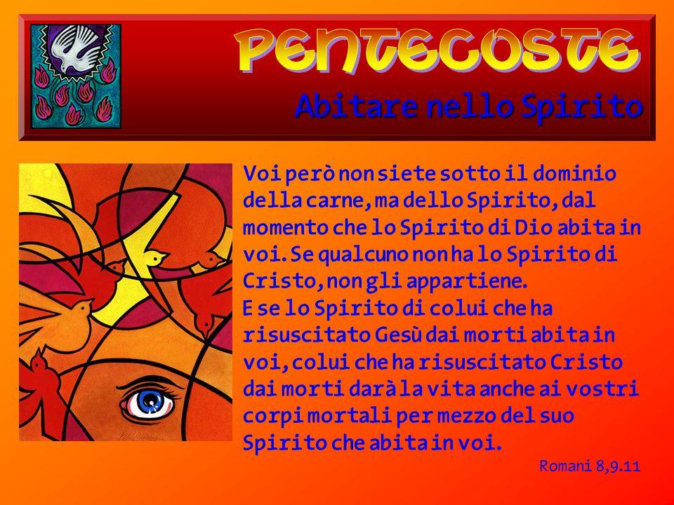 Abitare nello Spirito Voi però non siete sotto il dominio della carne, ma dello Spirito, dal momento che lo Spirito di Dio abita in voi. Se qualcuno n