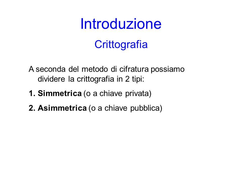 Introduzione Crittografia A seconda del metodo di cifratura possiamo dividere la crittografia in 2 tipi: 1.Simmetrica (o a chiave privata) 2.Asimmetrica (o a chiave pubblica)