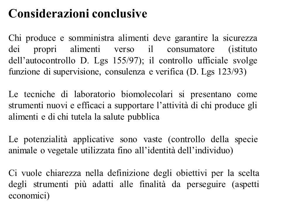 Considerazioni conclusive Chi produce e somministra alimenti deve garantire la sicurezza dei propri alimenti verso il consumatore (istituto dell'autoc