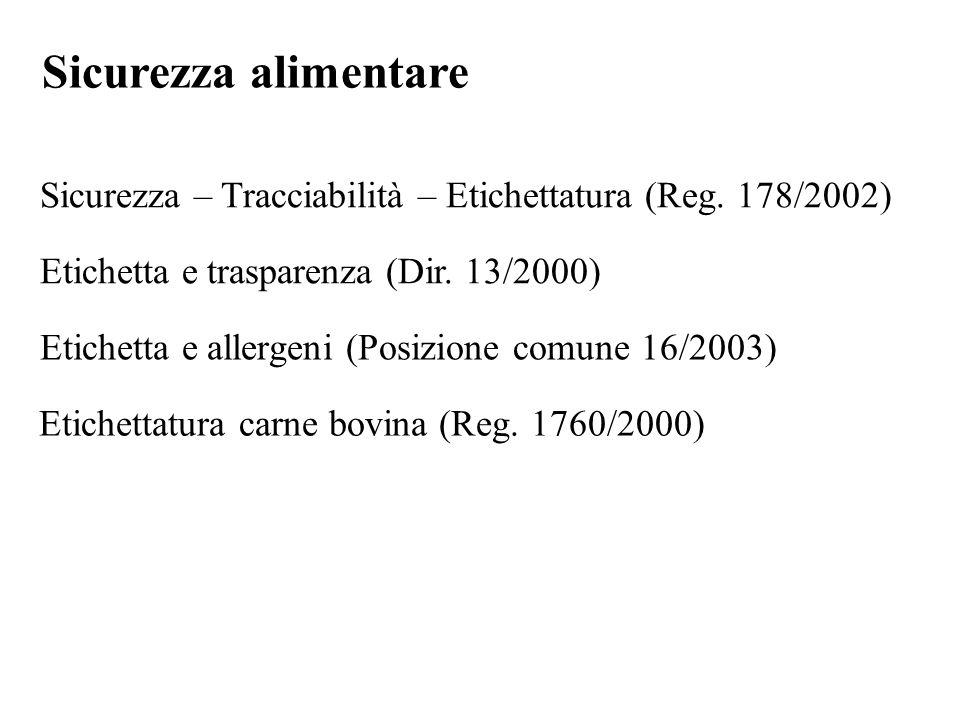 Sicurezza alimentare Sicurezza – Tracciabilità – Etichettatura (Reg. 178/2002) Etichetta e trasparenza (Dir. 13/2000) Etichetta e allergeni (Posizione