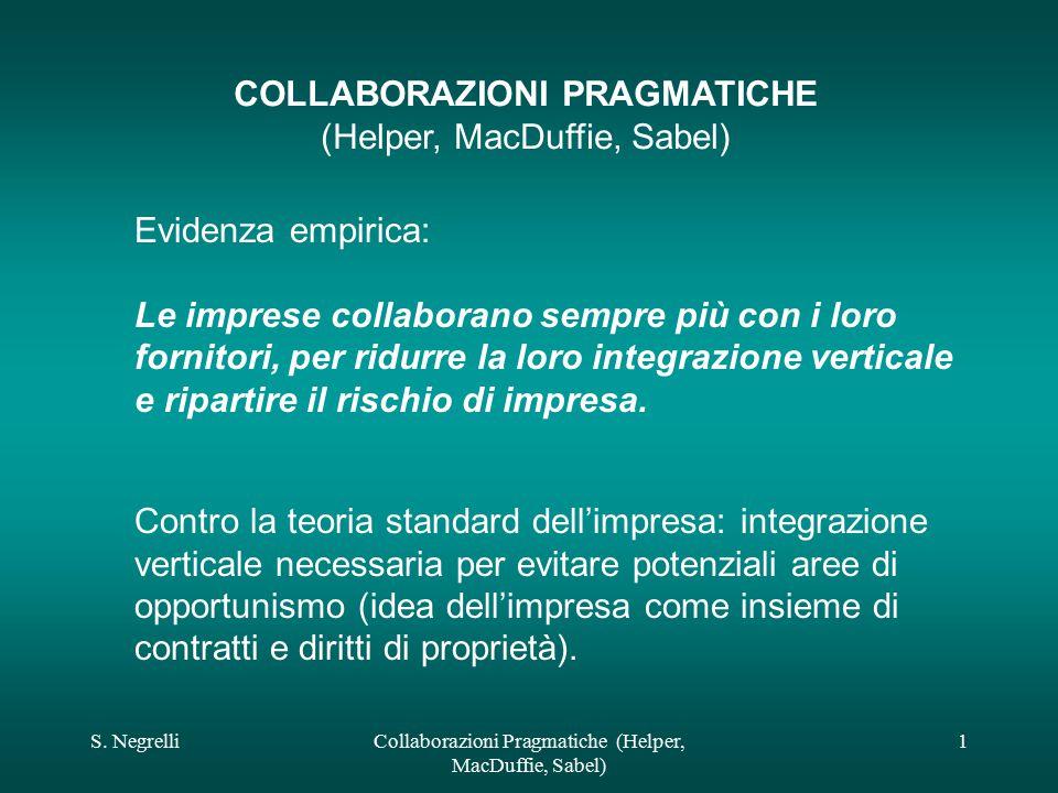 S. NegrelliCollaborazioni Pragmatiche (Helper, MacDuffie, Sabel) 1 COLLABORAZIONI PRAGMATICHE (Helper, MacDuffie, Sabel) Evidenza empirica: Le imprese