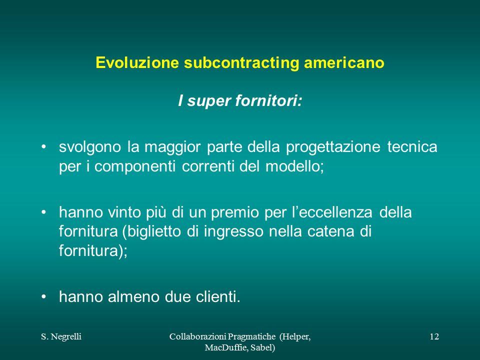 S. NegrelliCollaborazioni Pragmatiche (Helper, MacDuffie, Sabel) 12 Evoluzione subcontracting americano I super fornitori: svolgono la maggior parte d