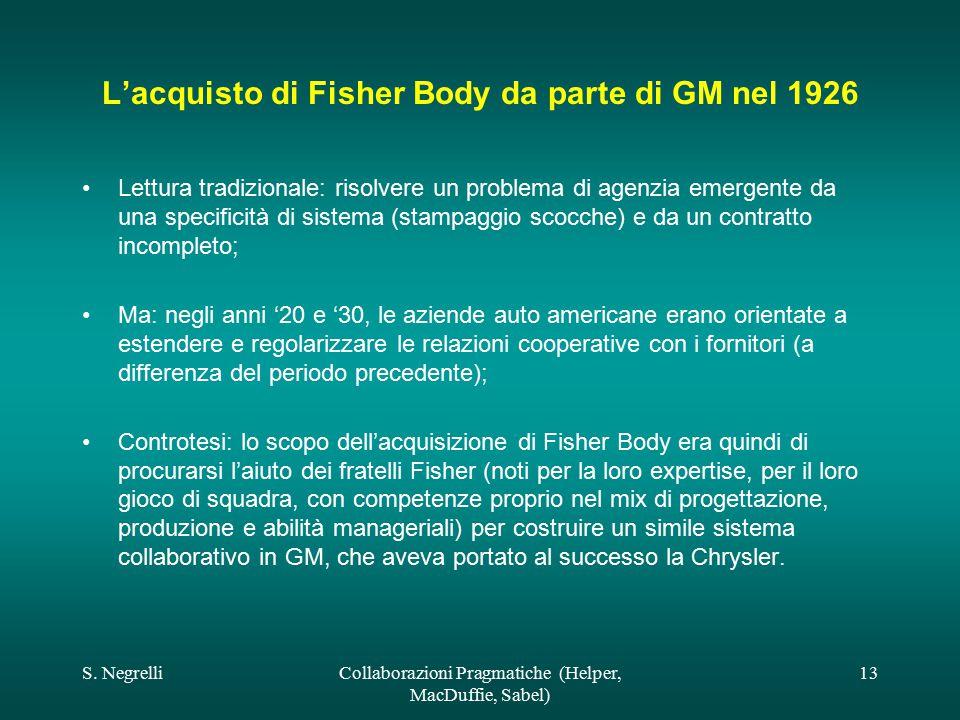 S. NegrelliCollaborazioni Pragmatiche (Helper, MacDuffie, Sabel) 13 L'acquisto di Fisher Body da parte di GM nel 1926 Lettura tradizionale: risolvere