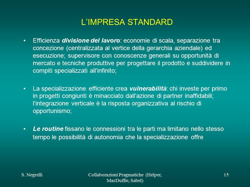 S. NegrelliCollaborazioni Pragmatiche (Helper, MacDuffie, Sabel) 15 L'IMPRESA STANDARD Efficienza divisione del lavoro: economie di scala, separazione