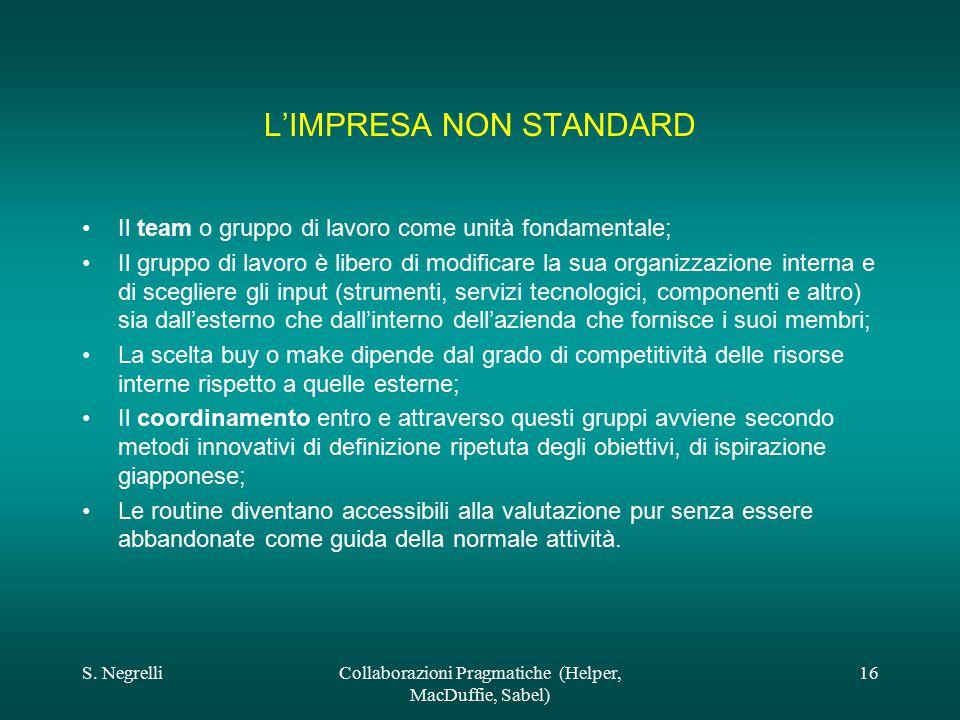 S. NegrelliCollaborazioni Pragmatiche (Helper, MacDuffie, Sabel) 16 L'IMPRESA NON STANDARD Il team o gruppo di lavoro come unità fondamentale; Il grup