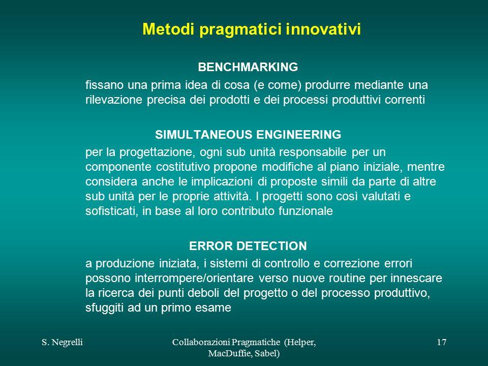 S. NegrelliCollaborazioni Pragmatiche (Helper, MacDuffie, Sabel) 17 Metodi pragmatici innovativi BENCHMARKING fissano una prima idea di cosa (e come)