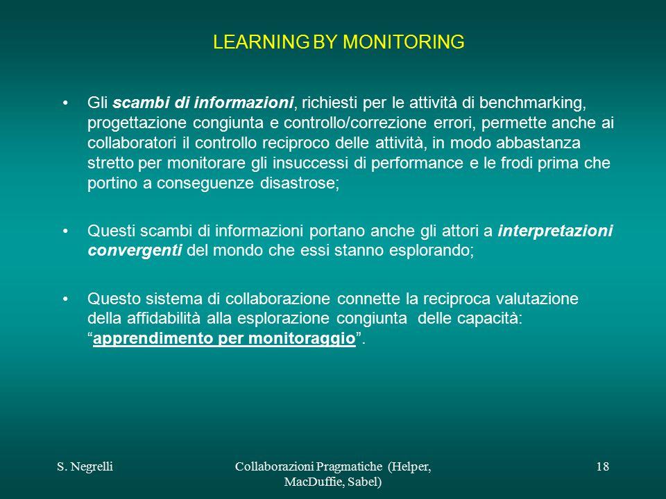 S. NegrelliCollaborazioni Pragmatiche (Helper, MacDuffie, Sabel) 18 LEARNING BY MONITORING Gli scambi di informazioni, richiesti per le attività di be