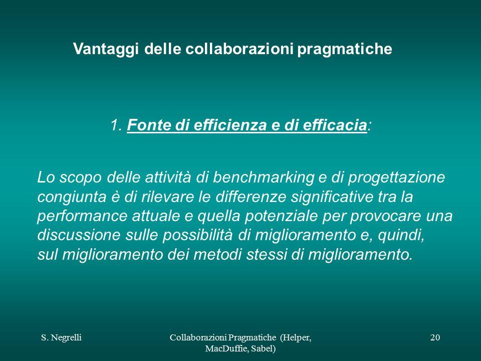S. NegrelliCollaborazioni Pragmatiche (Helper, MacDuffie, Sabel) 20 Vantaggi delle collaborazioni pragmatiche 1. Fonte di efficienza e di efficacia: L
