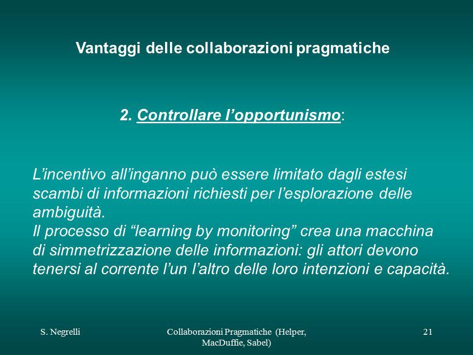 S. NegrelliCollaborazioni Pragmatiche (Helper, MacDuffie, Sabel) 21 Vantaggi delle collaborazioni pragmatiche 2. Controllare l'opportunismo: L'incenti