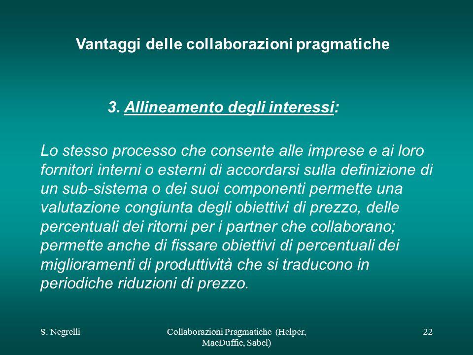 S. NegrelliCollaborazioni Pragmatiche (Helper, MacDuffie, Sabel) 22 Vantaggi delle collaborazioni pragmatiche 3. Allineamento degli interessi: Lo stes