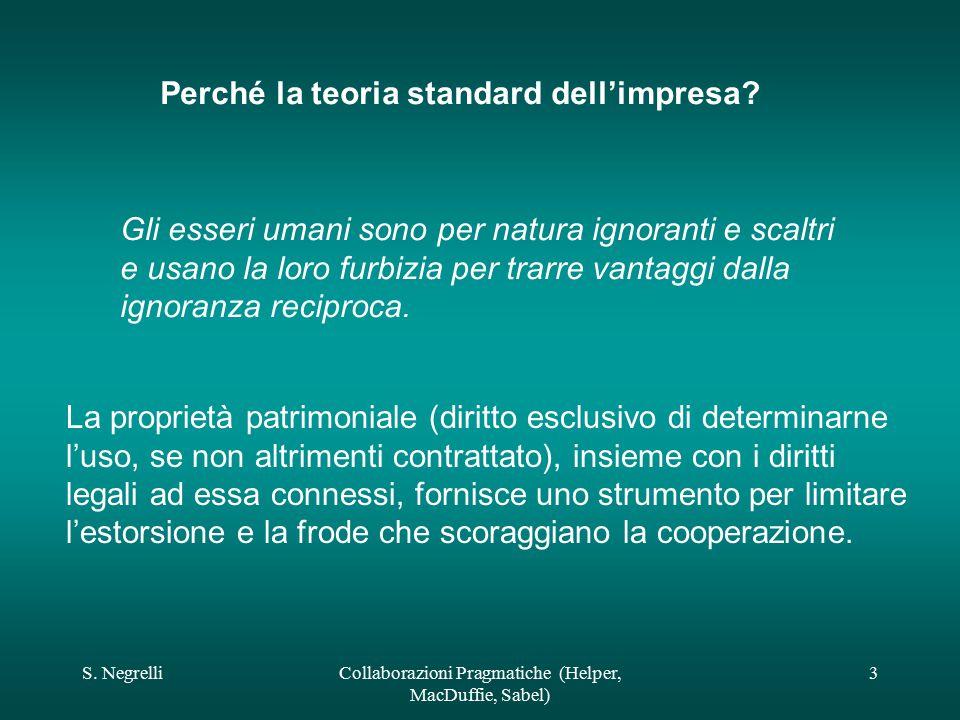 S. NegrelliCollaborazioni Pragmatiche (Helper, MacDuffie, Sabel) 3 Perché la teoria standard dell'impresa? Gli esseri umani sono per natura ignoranti